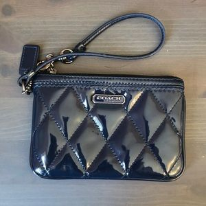 Coach blue patent leather small wristlet